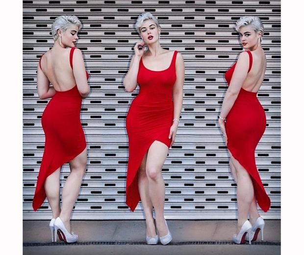stefania ferrario in a red dress