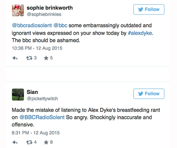 bbc radio host alex dyke offensive breastfeeding comments