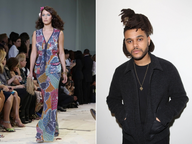 (L-R) Bella Hadid on the DVF catwalk and her boyfriend The Weeknd on the FROW