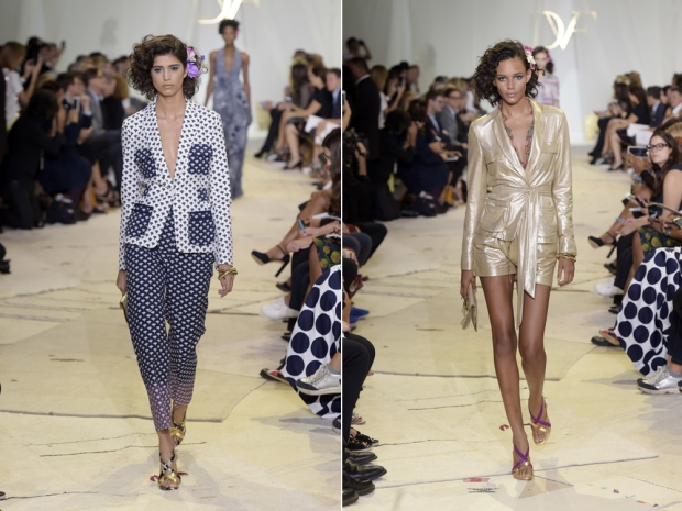 Two looks from the DVF SS16 show