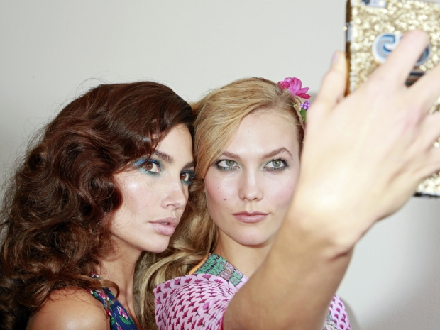 Lily Aldridge and Karlie Kloss take a selfie backstage at DVF