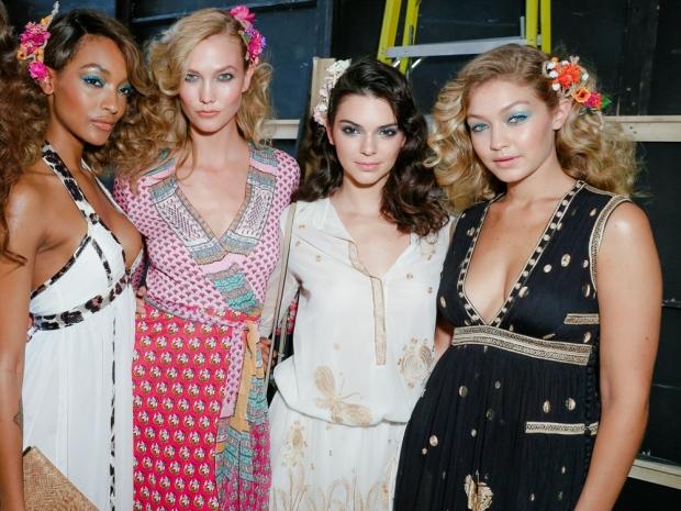 Jourdan Dunn, Karlie Kloss, Kendall Jenner and Gigi Hadid at DVF