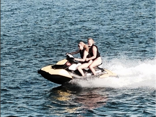 Amy Schumer and Jennifer Lawrence on a jet ski