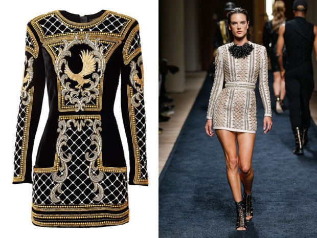 (L-R) Balmain x H&M dress, Alessandra Ambrosio on the Balmain catwalk