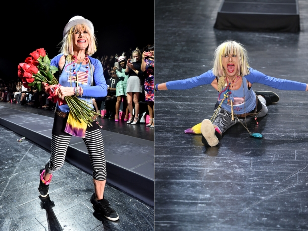 Betsey Johnson on the catwalk at New York Fashion Week