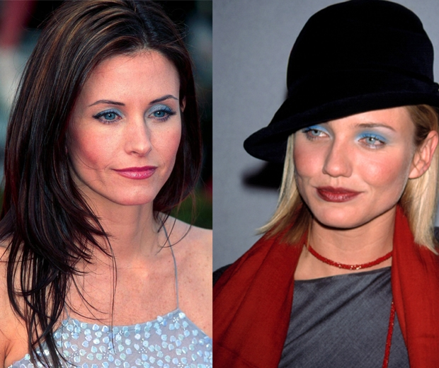 Courtney Cox and Cameron Diaz wear 90s bold blue eyeshadow