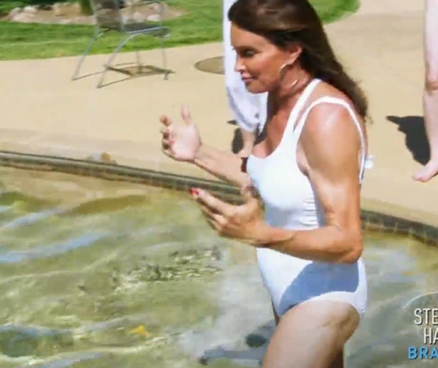 caitlyn jenner in white swimsuit