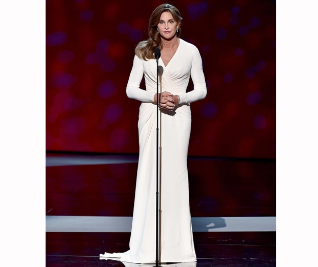Caitlyn Jenner stunned in a white Versace wrap dress
