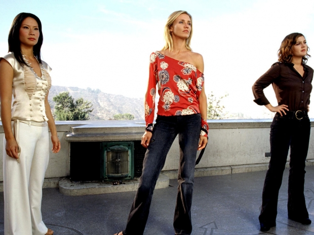 Lucy Lui, Cameron Diaz and Drew Barrymore as Charlie's Angels.