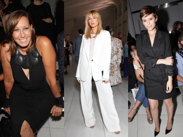 (L-R) Donna Karan, Hailey Baldwin and Kate Mara at DKNY SS16