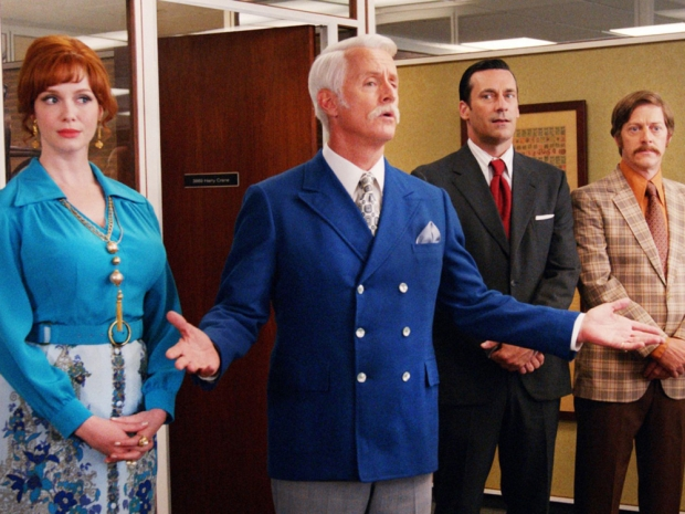 Jon Hamm with his co-stars in Mad Men