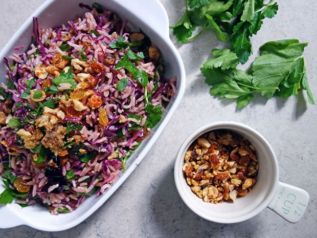 Red Cabbage Rice Salad with Comté-crumbed Hazelnuts
