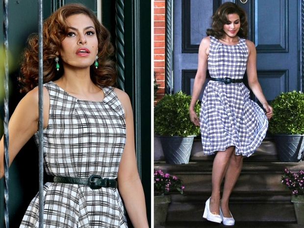 eva mendes in a gingham dress on a shoot
