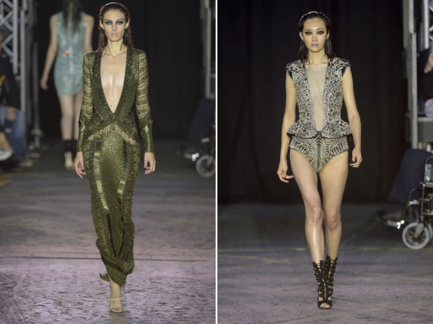 Two sexy frocks from the Julien Macdonald show.