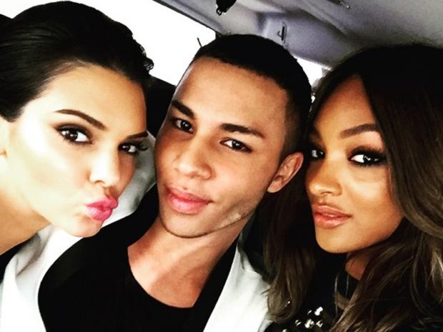 Kendall Jenner, Olivier Rousteing and Jourdan Dunn before the Billboard Awards