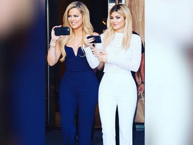 Khloe and Kylie at the launch of their new websites