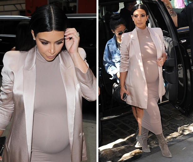 kim kardashian pregnant in blush dress