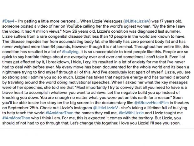 Kylie Jenner's post about Lizzie Velasquez