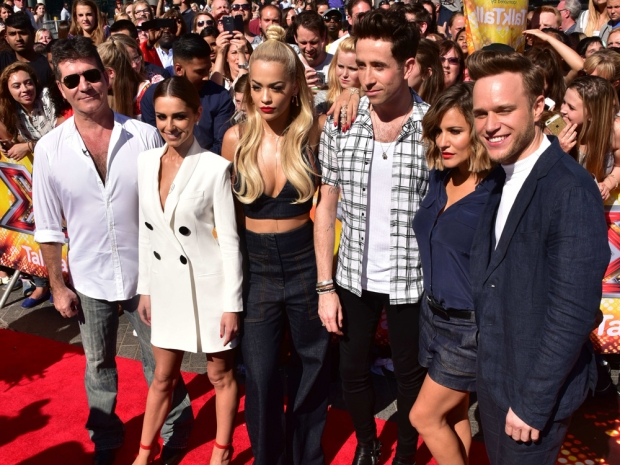 Nick Grimshaw with his fellow X Factor judges on the red carpet