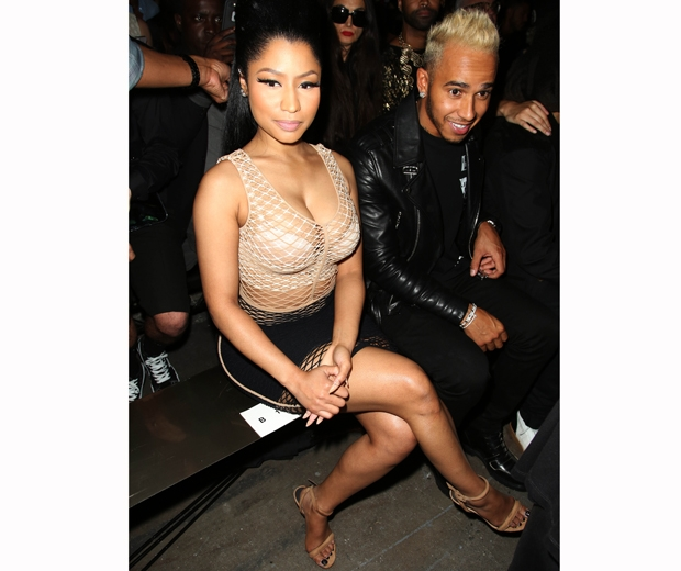 Nicki Minaj and Lewis Hamilton enjoying Wang's NYFW show