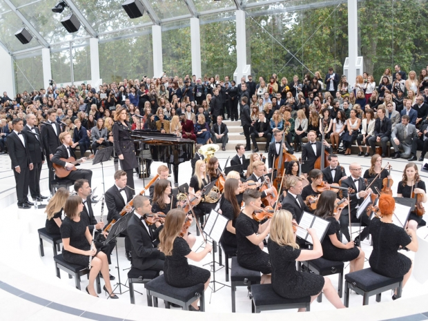 The full orchestra at the Burberry show.