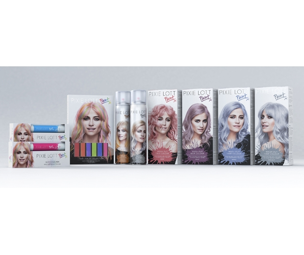 The range contains hair chalks, sprays and wash out colours