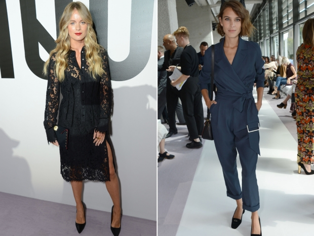 (L-R) Cressida Bonas and Alexa Chung at the Topshop Unique SS16 show