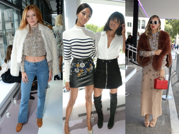 (L-R) Bella Thorne, Jourdan Dunn, Ciara and Suki Waterhouse at the Topshop show