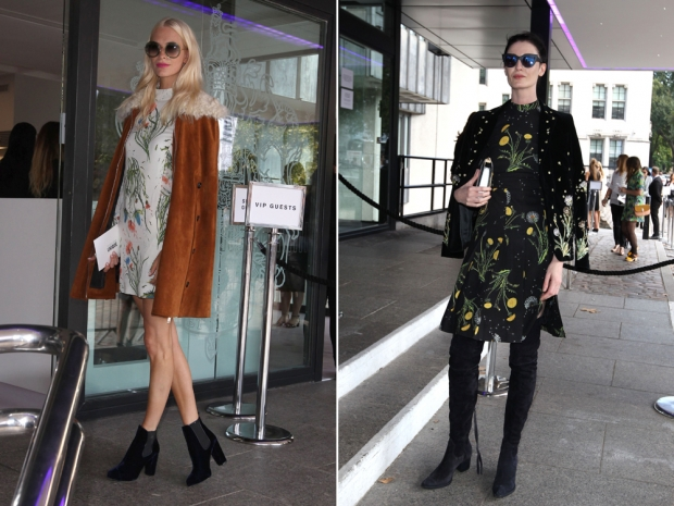 (L-R) Poppy Delevingne and Erin O'Connor in Topshop Unique AW15