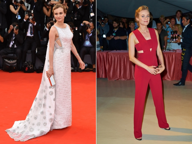 Diane Kruger in a Prada gown and a Cushnie et Ochs jumpsuit