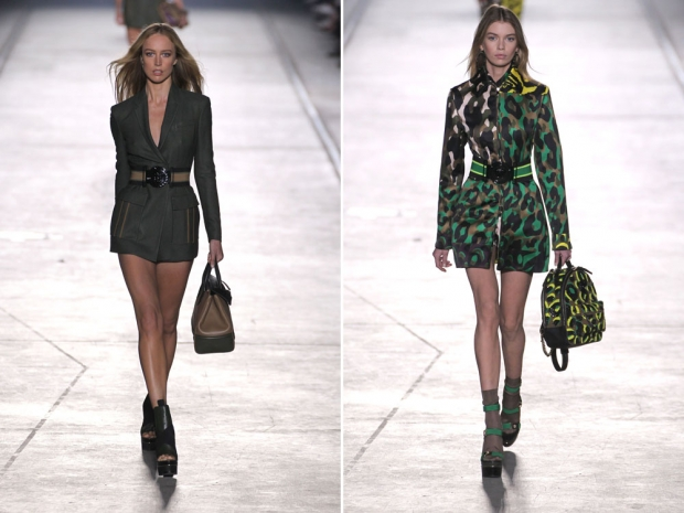 Two of the looks from the Versace spring/summer 2016 catwalk.