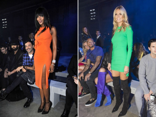 Naomi Campbell and Heidi Klum on the Versace FROW.