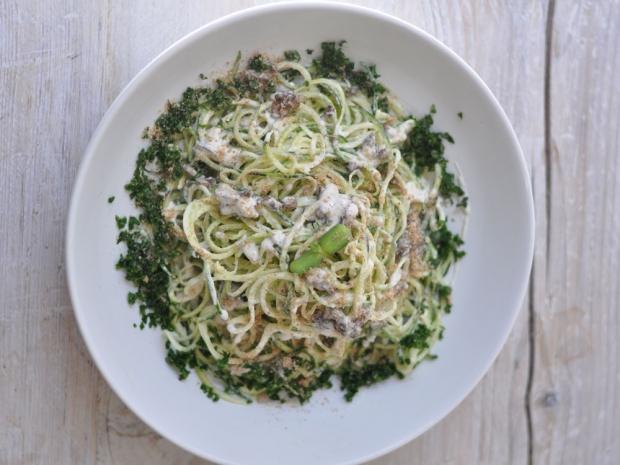 Nama's White Pasta with Marinated Mushrooms and Kale