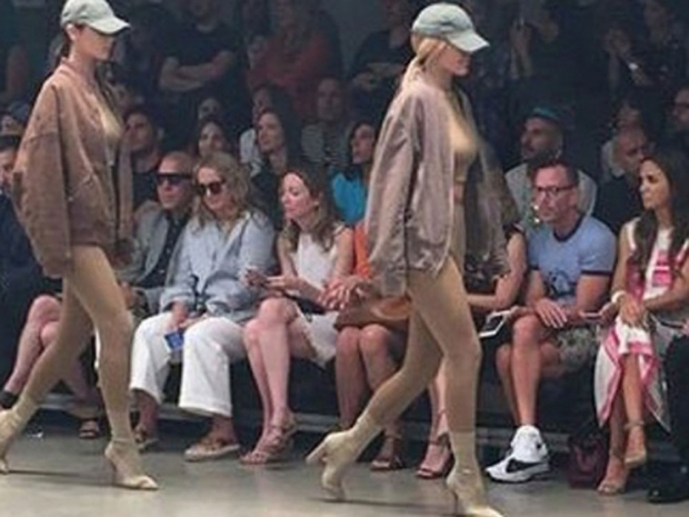 Kylie Jenner on the catwalk at Kanye West's fashion week show