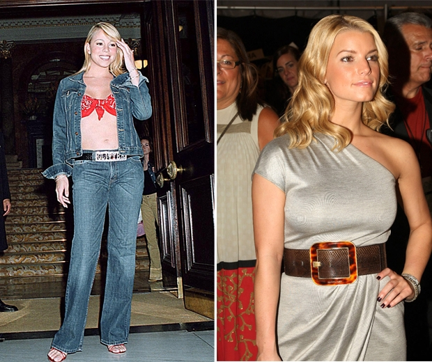 Mariah Carey and Jessica Simpson wearing mega belts