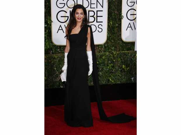 Amal Clooney at the Golden Globes in 2015.