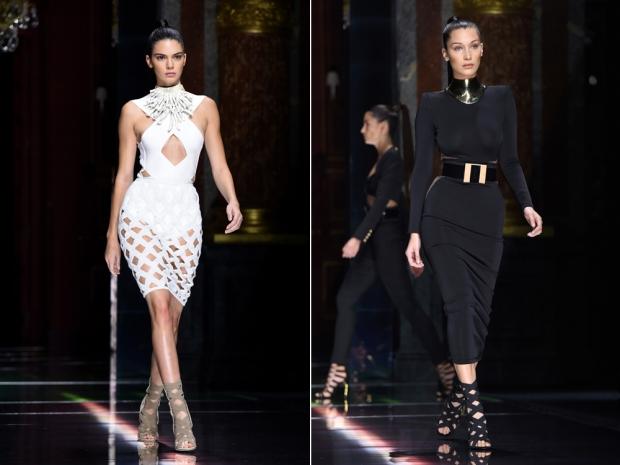 Kendall Jenner and Bella Hadid on the Balmain catwalk
