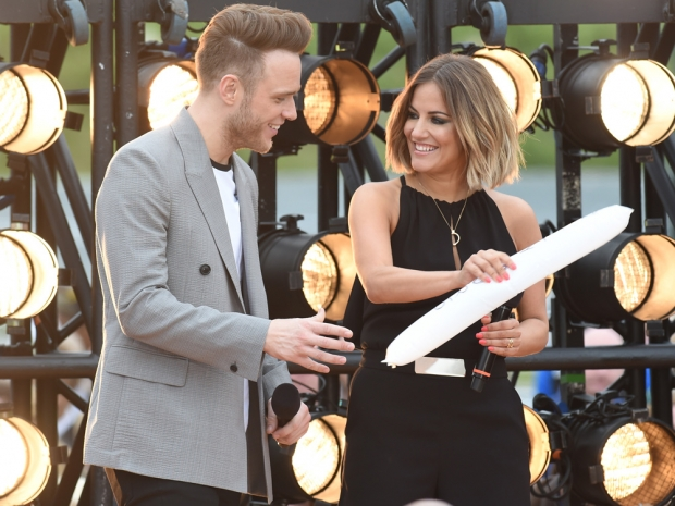 Caroline Flack and Olly Murs at The X Factor open auditions in Manchester
