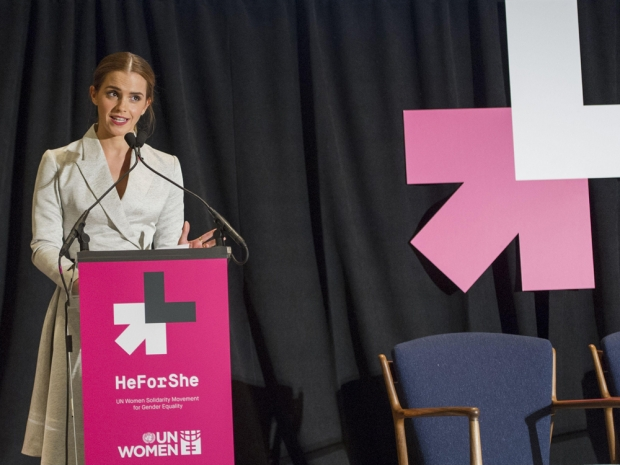 Emma Watson speaks at the HeForShe campaign in New York, 2014