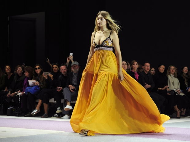 Gigi Hadid on the Giambattista Valli catwalk