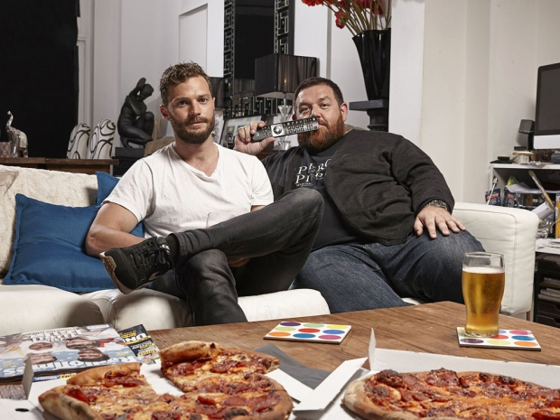 Jamie Dornan and Nick Frost on Channel 4's Gogglebox