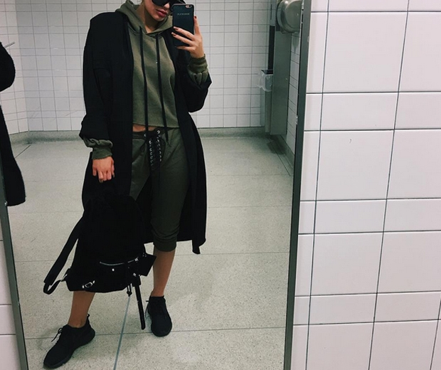 kylie jenner in an airport bathroom