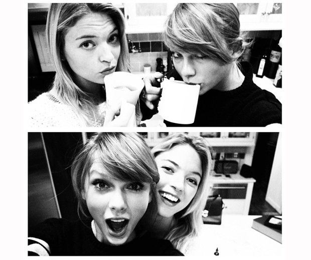 Martha Hunt and Taylor Swift enjoying a girls' night in together