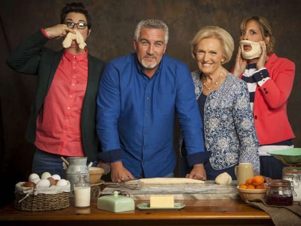 Mel and Sue, Paul Hollywood and Mary Berry on The Great British Bake Off