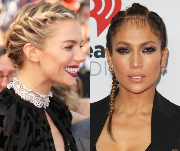 sienna miller and j lo with plait hairstyles