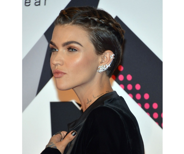 Ruby Rose wears her hair in a plait