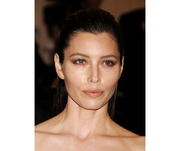 Jessica Biel sports clip on septum piercing at the Met Gala 2013