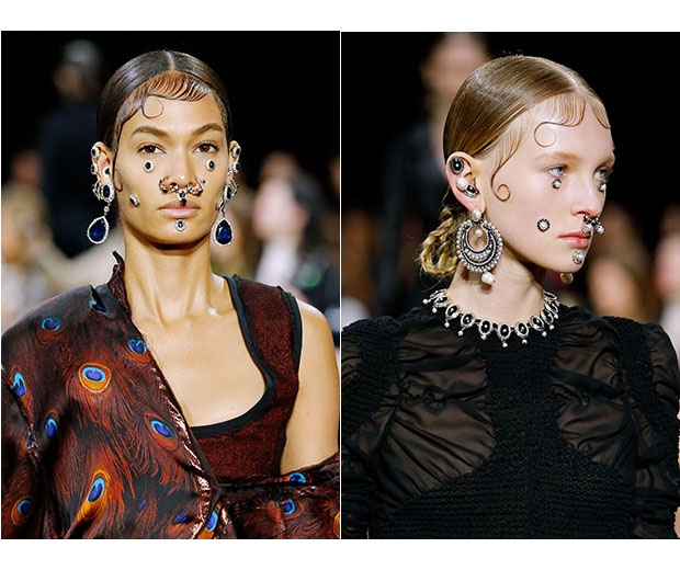 Givenchy models sported the septum piercing on the AW15 Catwalk