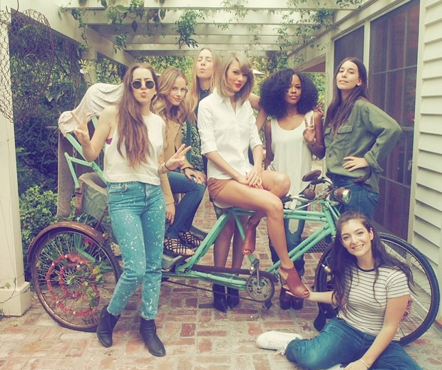taylor swift on a bike with lorde and haim