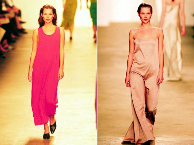 Kate Moss on the Calvin Klein catwalk.